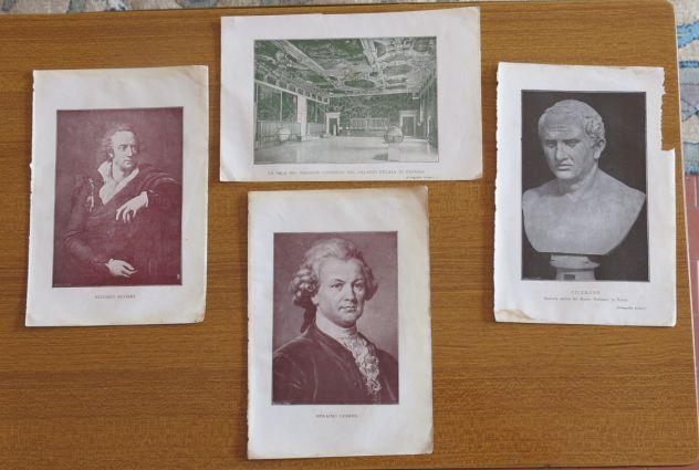 4 PICCOLE STAMPE DI V. ALFIERI E. LESSING CICERONE SALA CONSIGLIO VENEZIA -