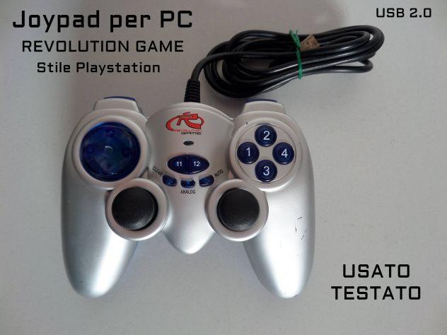 Joypad per PC (stile playstation) con levette + vibrazione, spin. USB