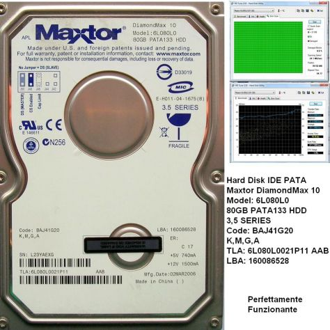 Hard Disk Maxtor DiamondMax 10 IDE PATA 80GB 3,5'' Model: 6L080L0 80GB