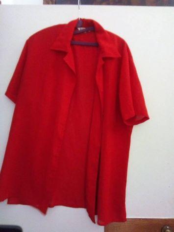Camicia rossa in poliestere a maniche corte xxl
