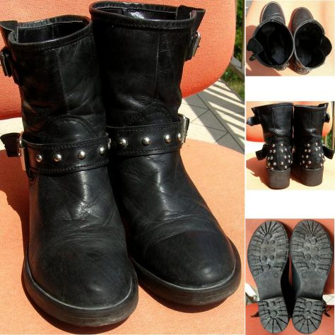 Scarpe Stivali Stivaletti donna pelle nero borchie fibbia cinta suola - Foto 4
