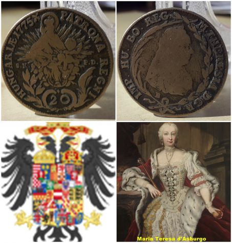 UNGHERIA, 20 KRAJZCAR  1775, Patrona del regno dell'Ungheria.
