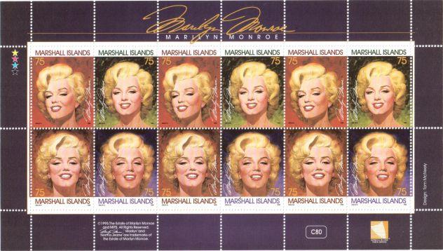 """Foglietto nuovo da collezione """"Marilyn Monroe"""" Marshall Islands"""