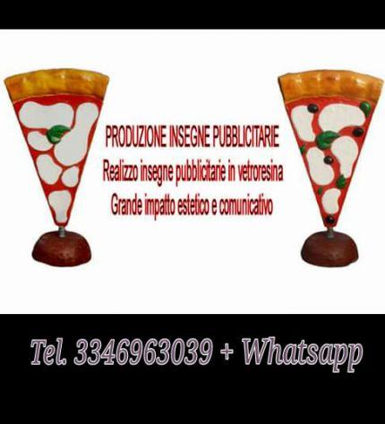 Insegna PIZZA in vetroresina (fiberglass) per esterno Pizza a totem - Foto 5