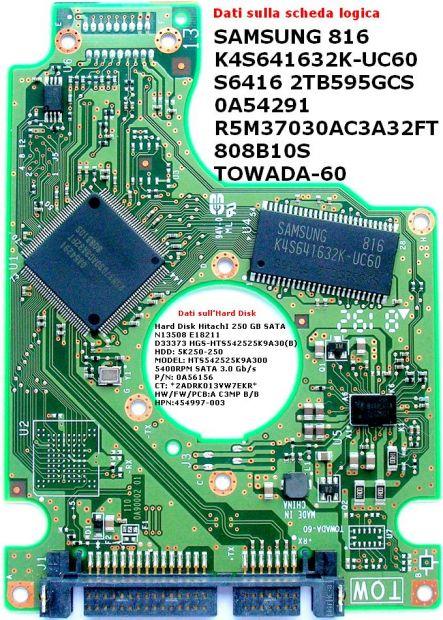 PCB Hitachi 250 GB Sata HTS542525K9A300 Scheda logica Hard disk Dati sulla  …