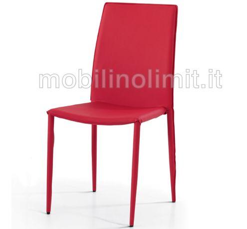Sedia In Ecopelle Rossa - Nuovo