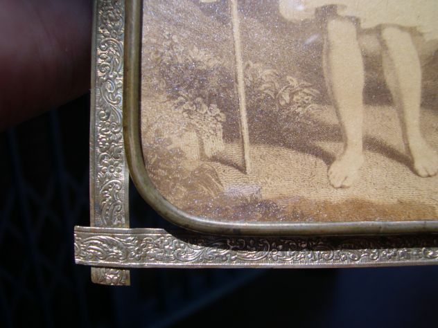 Antica cornice in ottone, portaritratti in ottone Liberty, arte sacra - Foto 3