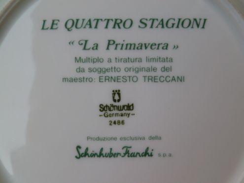 Piatto in porcellana Schonwald Le 4 stagioni di E. Treccani - Foto 3