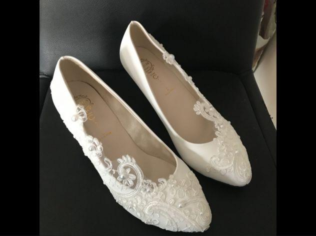 1ef0743f392e Scarpe matrimonio ballerine shoes flat tacco suola rasoterra sposa - Foto 3