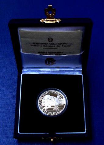 ITALIA REPUBBLICA ITALIANA 500 LIRE 1987 ATLETICA ARGENTO FS PROOF