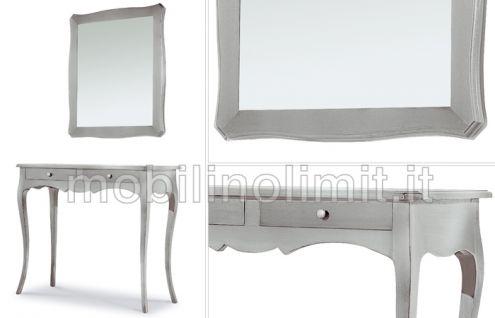 Consolle e specchiera foglia argento - Nuovo