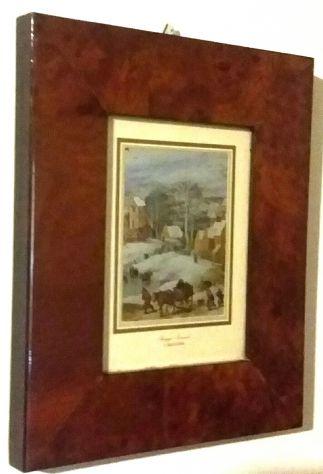 Paesaggio invernale di Jan Brueghel, litografia su alluminio cornice di radica