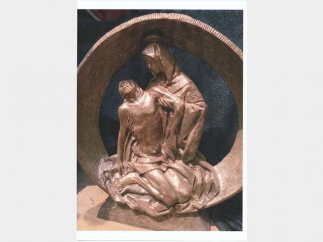 Arte sacra statua di bronzo firmata - DALL ' ANGEL