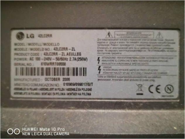 RICAMBI PER TV LG 42LC2RR-ZL Usato