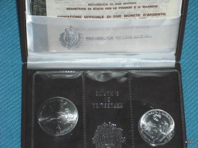 Monete argento san marino raffaello 1983 in astuccio