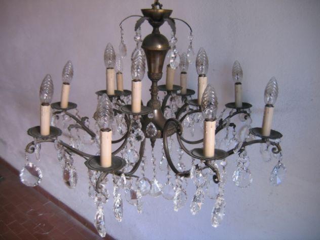 Lampadario Vintage A Gocce.Lampadario A Gocce In Cristallo Vetro Ottone 12 Luci Vintage