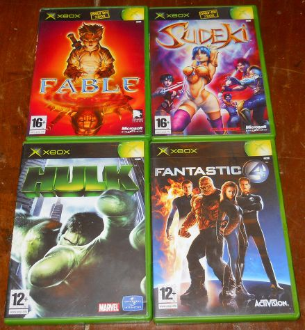 set lotto 4 giochi microsoft xbox sudeki fable hulk fantastic four PAL