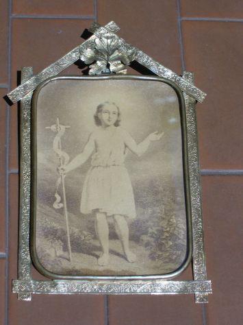 Antica cornice in ottone, portaritratti in ottone Liberty, arte sacra - Foto 5