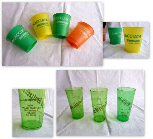 7 Bicchieri Plastica vintage anni '60 Gnassi Sammontana