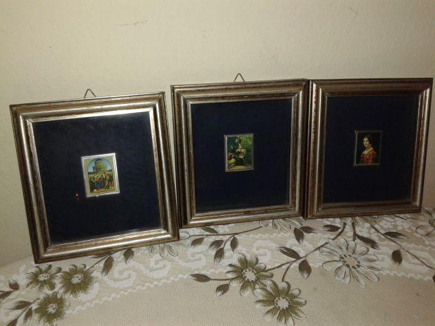 3 MINIATURE 4x3 quadri famosi in cornice 13,5x14,5