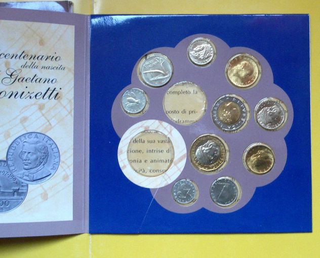 ITALIA REPUBBLICA SERIE 10 VALORI 1997 SIGILLATE FDC CONFEZIONE ZECCA NO ARGENTO
