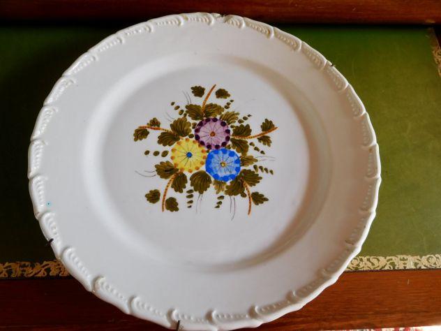 Antico Piatto primi 900 in ceramica d'Este dipinto a mano