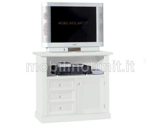 Porta Televisore 3 Cassetti 1 Anta - Bianco Opaco - Nuovo