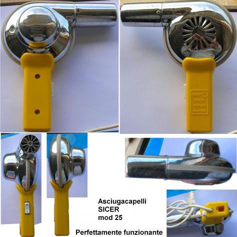 Asciugacapelli Sicer mod 25 Impugnatura in plastica e corpo in metallo. Due velo