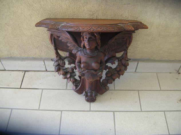 Consolle con putto,, specchio e mensole/putti scolpite in legno antiche
