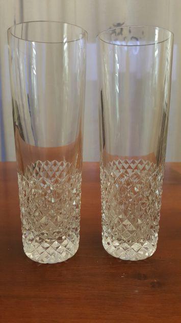 Coppia di bicchieri di cristallo vintage, taglio a diamante, da spumante o champ