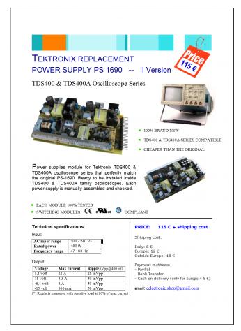 Tektronix TDS420 Power Supply PS 1690