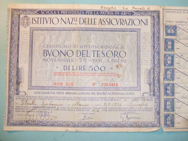 Buono del tesoro novennale del 1951