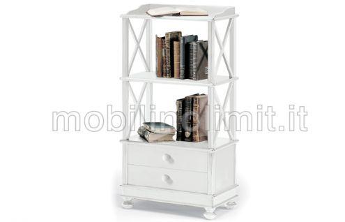 Libreria 2 Cassetti 2 Ripiani - Bianco Opaco - Nuovo
