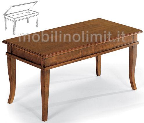 Tavolino Bacheca Con Piano In Legno - Nuovo