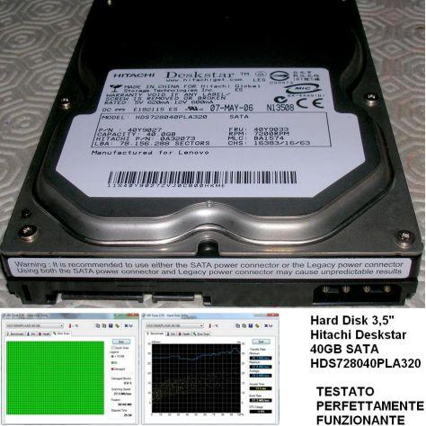 Hard Disk 3,5'' Hitachi Deskstar 40GB SATA HDS728040PLA320  TESTATO PE - Foto 2