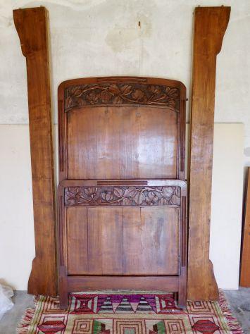 LETTO SINGOLO ANTICO LIBERTY primi 900 in legno massello scolpito a mano