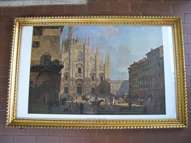 Antico quadro con stampa del Duomo nell'800 di Migliara