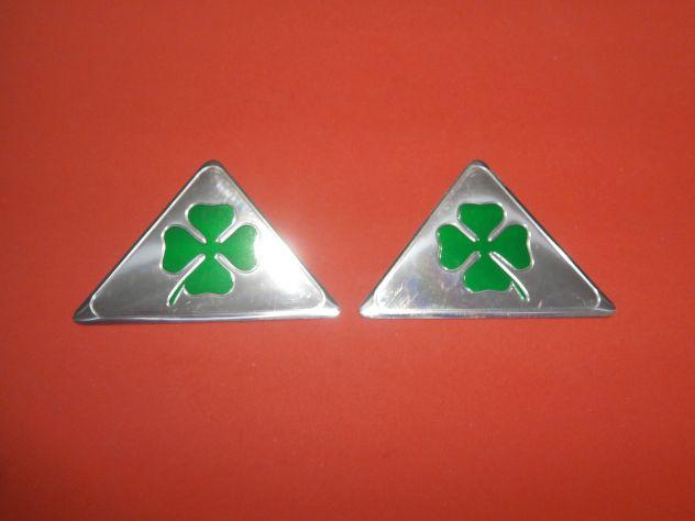 Coppia logo targhetta fregio emblema Alfa Romeo Quadrifoglio Verde
