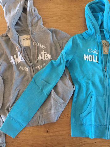 Lotto felpe Hollister nr.2 Tg S grigia e azzurro con zip e cappuccio