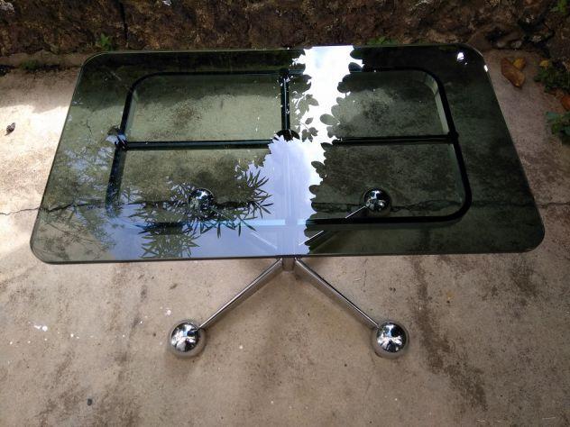 Tavolino da caffè Allegri regolabile in altezza, vetro fumé e acciaio cromato