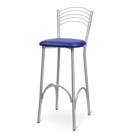 Sgabello in metallo con seduta combinabile con diverse soluzioni di materiali e