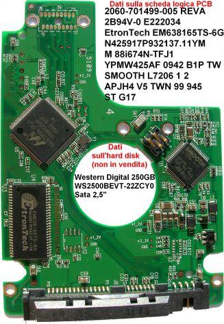 PCB Hard disk Western Digital WS2500BEVT-22ZCY0 SATA 2,5'' 250 GB  Dati sulla sc