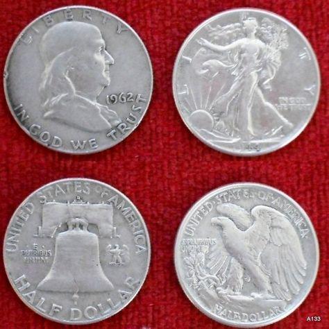 HALF DOLLAR U.S.A. 2 MONETE ARGENTO