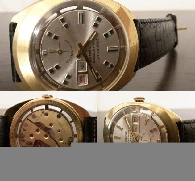Orologio uomo GENIEVRE ANCRE A.G. 17 RUBIS CALENDAR ANTOMAGNETIC anni '50.