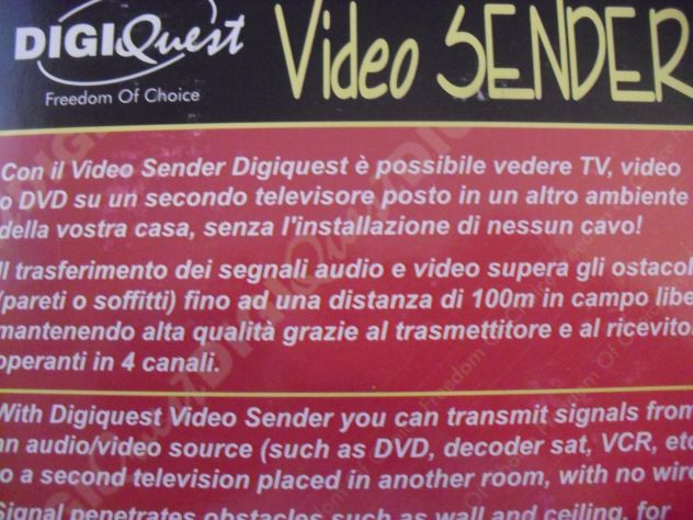 Video Sender DIGIQUEST per remotare TV, Video , DVD - Foto 4
