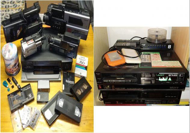 Acquisizione riversamento videocassette vhs betamax hi8 minidv