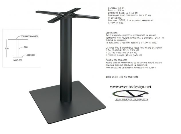 base per tavolo ristorante 80x80 h. 72