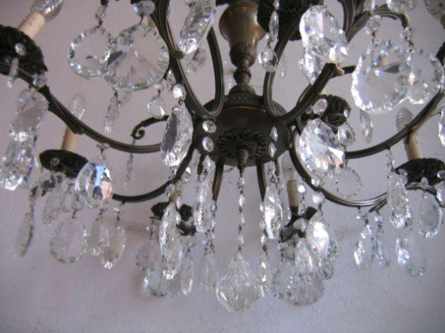 Lampadari A Gocce In Cristallo.Lampadario A Gocce In Cristallo Vetro Ottone 12 Luci Vintage