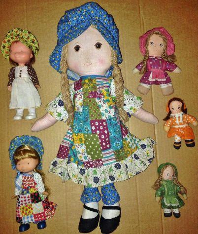 Lotto 6 bambole di pezza Holly Hobbie Amy KNICKERBOCKER vintage anni 70 rag doll