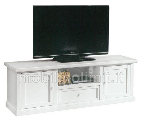 Porta Tv Bianco Opaco con 2 Ante e 1 Cassetto- Nuovo